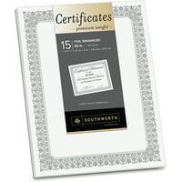 Southworth, SOUCTP1W, Foil Enhanced Certificates - Fleur Design, 15 / Pack, White,Silver