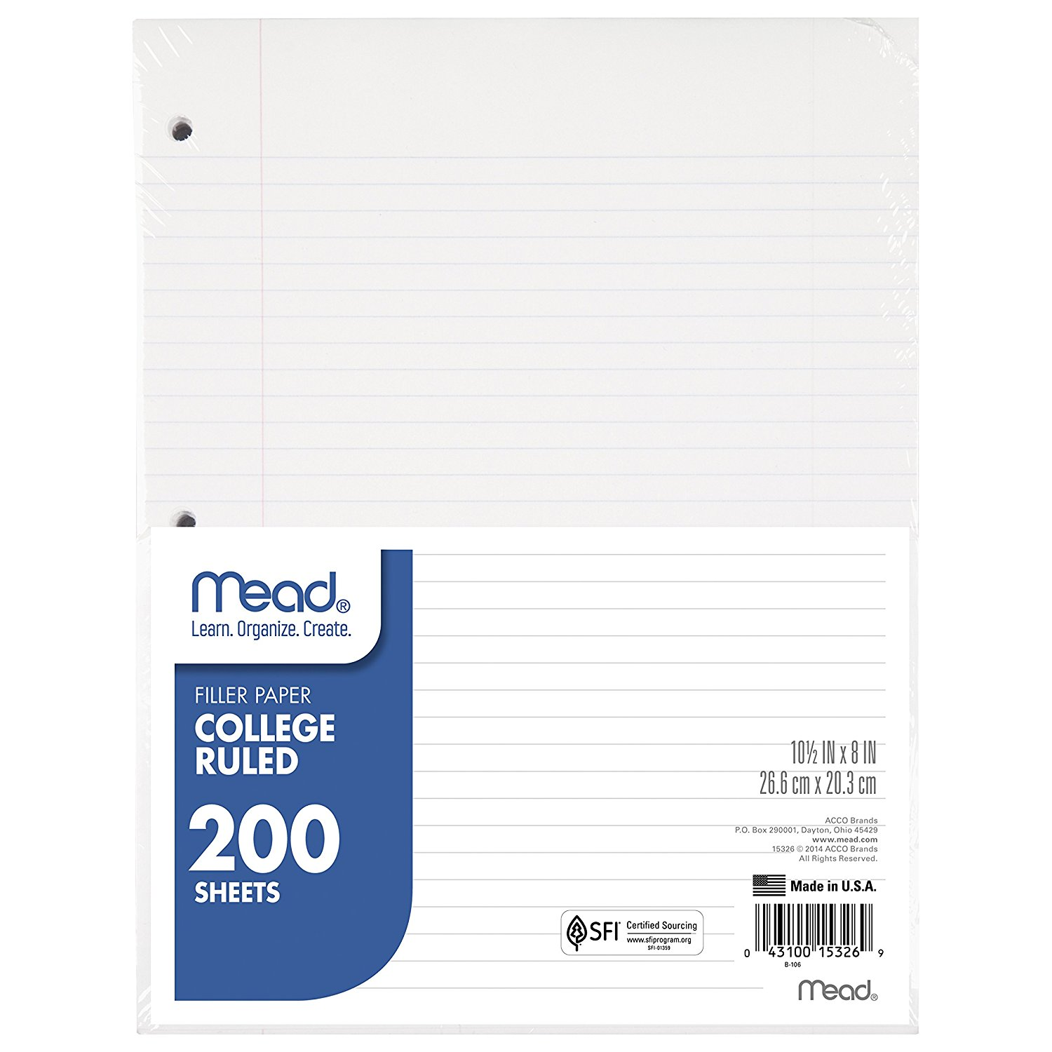 Filler Paper by , College Ruled By Mead - Walmart.com