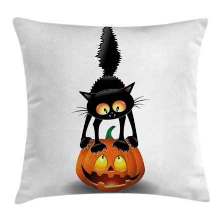 Halloween Decorations Throw Pillow Cushion Cover, Black Cat on Pumpkin Spooky Cartoon Characters Halloween Humor Art, Decorative Square Accent Pillow Case, 18 X 18 Inches, Orange Black, by Ambesonne](Halloween Cartoon Artwork)