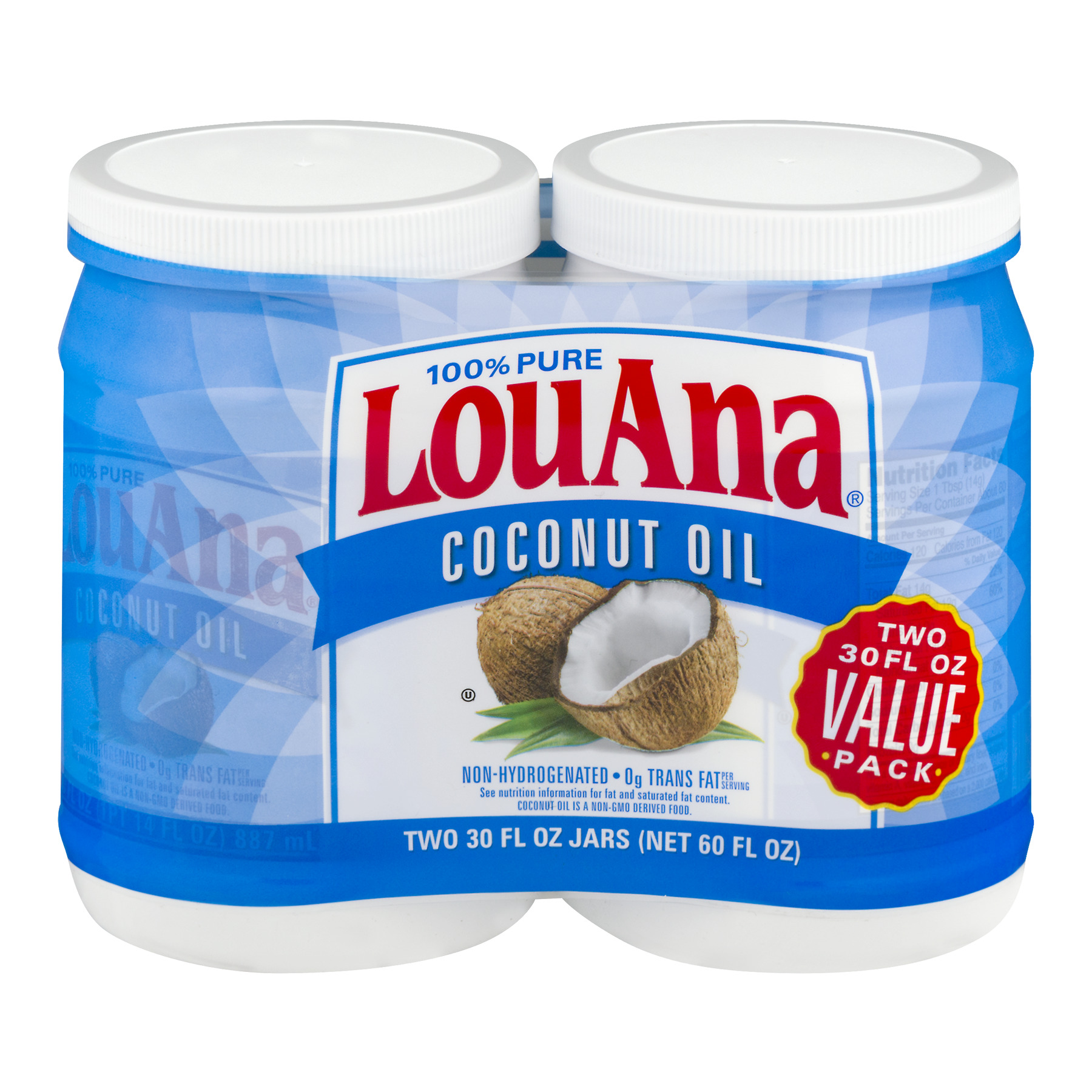 LouAna 100% Pure Coconut Oil, 30 oz (2 Pack)