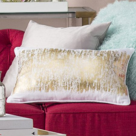 Saro Agatha Metallic Banded Cotton Lumbar Pillow ()