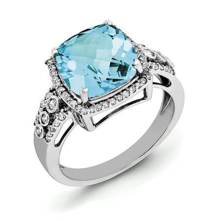 925 Sterling Silver Rhodium Checker-Cut Blue Topaz and Diamond Ring - image 2 de 2