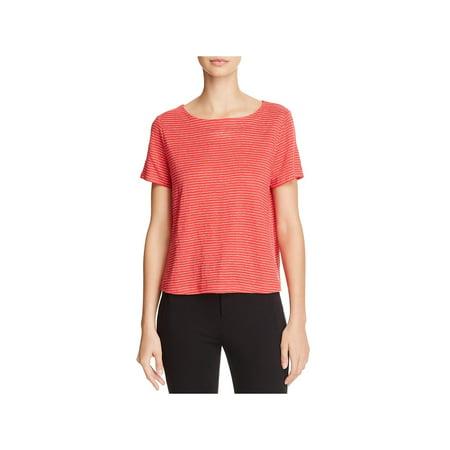 Eileen Fisher Womens Linen Striped T-Shirt