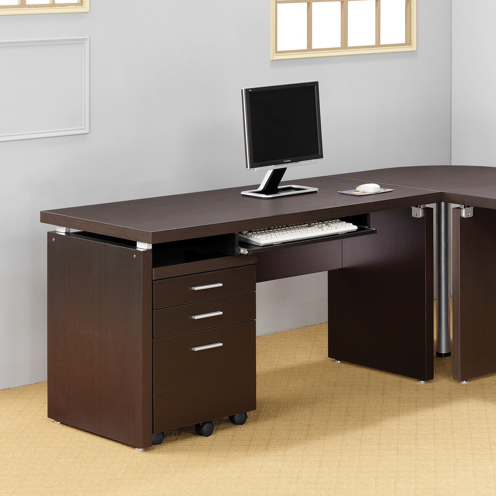 Coaster Company Skylar Collection Computer Desk, Cappuccino