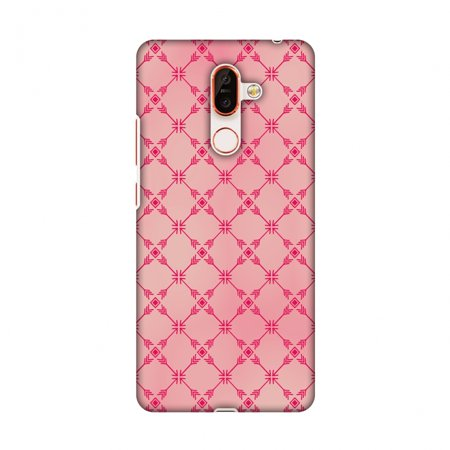 Hard Mesh Plastic Case - Nokia 7 Plus Case - Tribal mesh- Airbrushed pink, Hard Plastic Back Cover, Slim Profile Cute Printed Designer Snap on Case with Screen Cleaning Kit