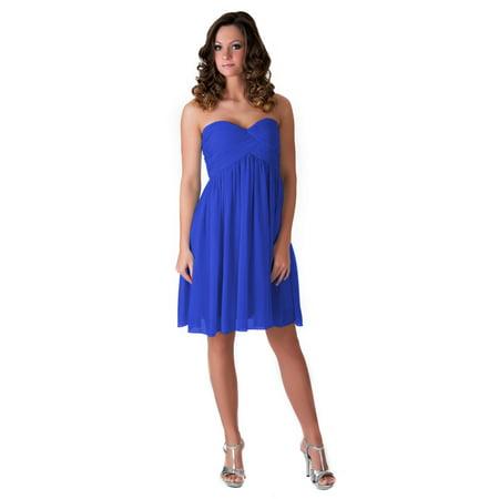 Faship Womens Elegant Short Pleated Formal Dress Royal Blue - 14,Royal