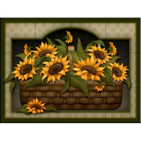 Ceramic Tile Mural - Sunflower Basket - by Angela Anderson - Kitchen  backsplash / Bathroom shower