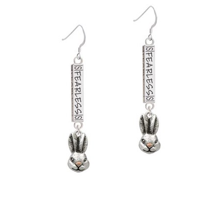 Antiqued Bunny Head- Fearless Bar French Earring - Bunny French