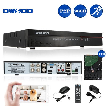 OWSOO 4CH Channel Full 960H/D1 H.264 P2P Cloud Network DVR Digital Video Recorder + 1TB HDD support Audio Record Phone Control Motion Detection Email Alarm PTZ for CCTV Camera System