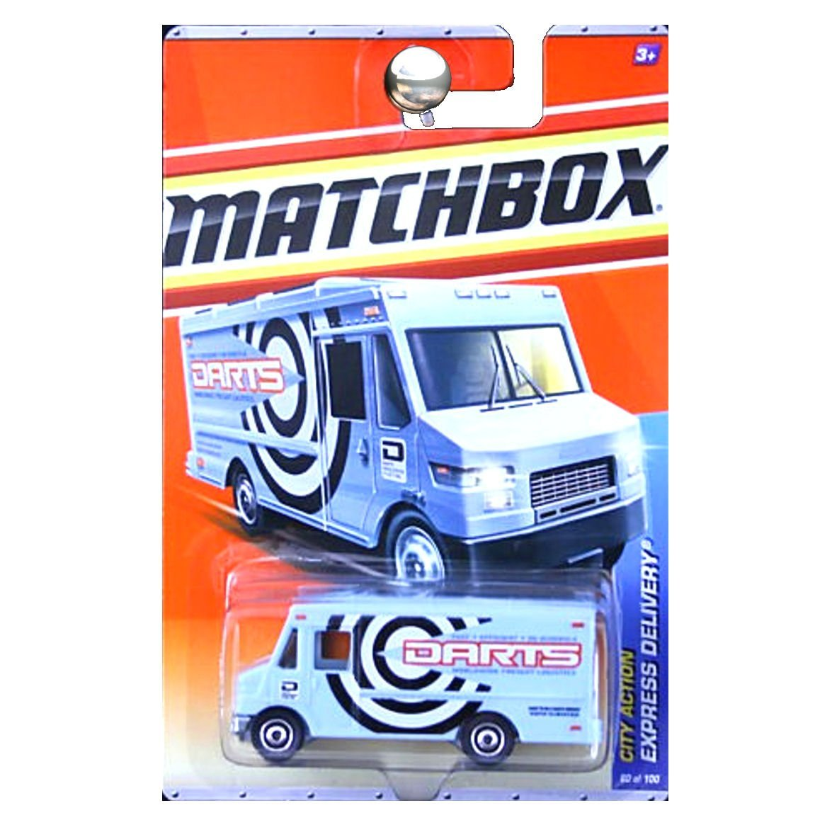 2011 City Action Express Delivery Speedy Van DARTS Blue #60, 1:64 By Matchbox by