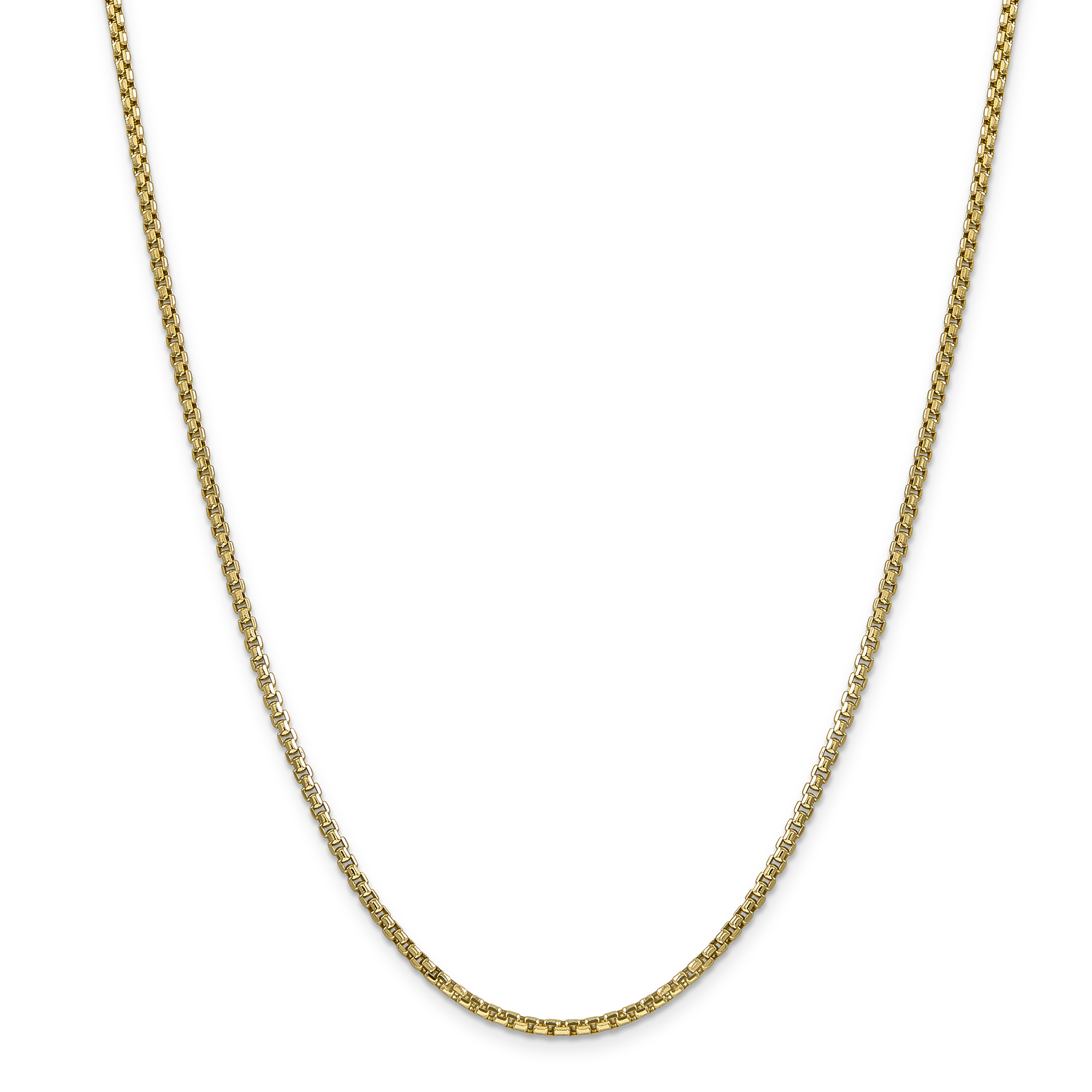 14k Yellow Gold 22in 2.45mm Hollow Round Box Chain Necklace