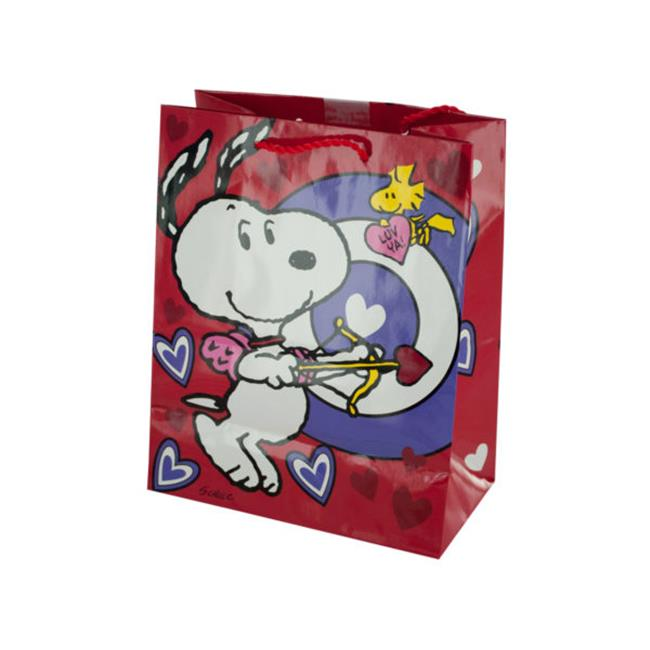 Kole Imports BH429-144 Snoopy Bullseye Valentines Gift Bag, 144 Piece
