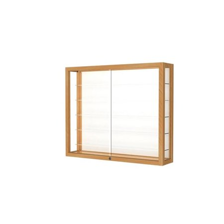 Waddell 8903M-WB-H Heirloom 36 x 30 x 8 in. Wall Case Hardwood with 5 Shelves, White Back - Honey Maple