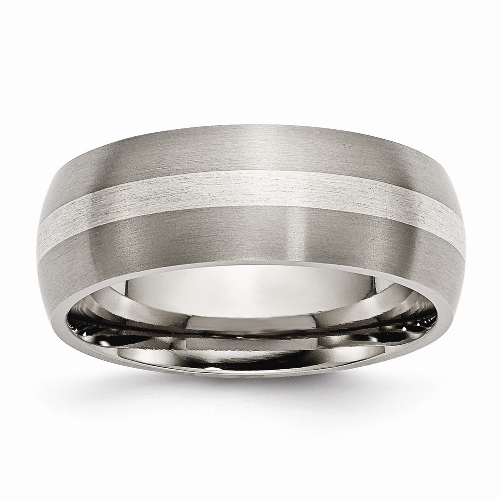 Titanium Sterling Silver Inlay 8mm Engravable Brushed Band