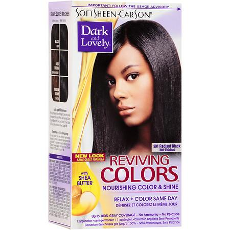 Dark and Lovely Relax & Color Same Day Semi-Permanent Haircolor 391 Radiant Black 1.0 kit(pack of 12)