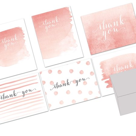 72 Note Cards - Whimsical Watercolor Thank You - 6 Designs - Blank Cards - Gray Envelopes Included