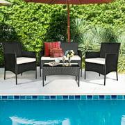 Gymax 4PCS Rattan Patio Conversation Set Outdoor Furniture Set Garden w/ Cushion