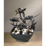 """9"""" Contemporary Multi-Tiered Asian Leaf Indoor Table Top Water Fountain"""