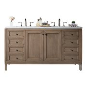 """James Martin Vanities 305-V60D-4DSC White Washed Walnut Chicago 60"""" Free Standing Or Wall"""