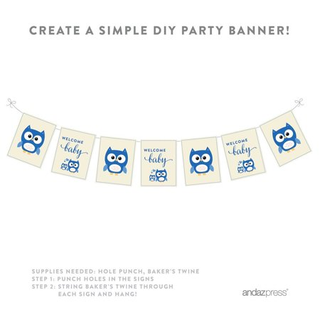 Boy Owl Baby Shower Party Signs & Banner Decorations, - Owl Baby Shower Banner