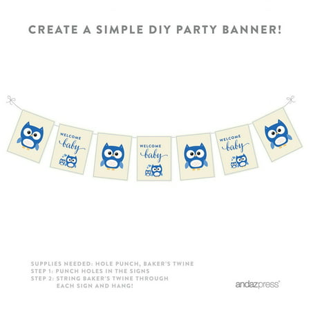 Boy Owl Baby Shower Party Signs & Banner Decorations, 20-Pack - Owl Boy Baby Shower