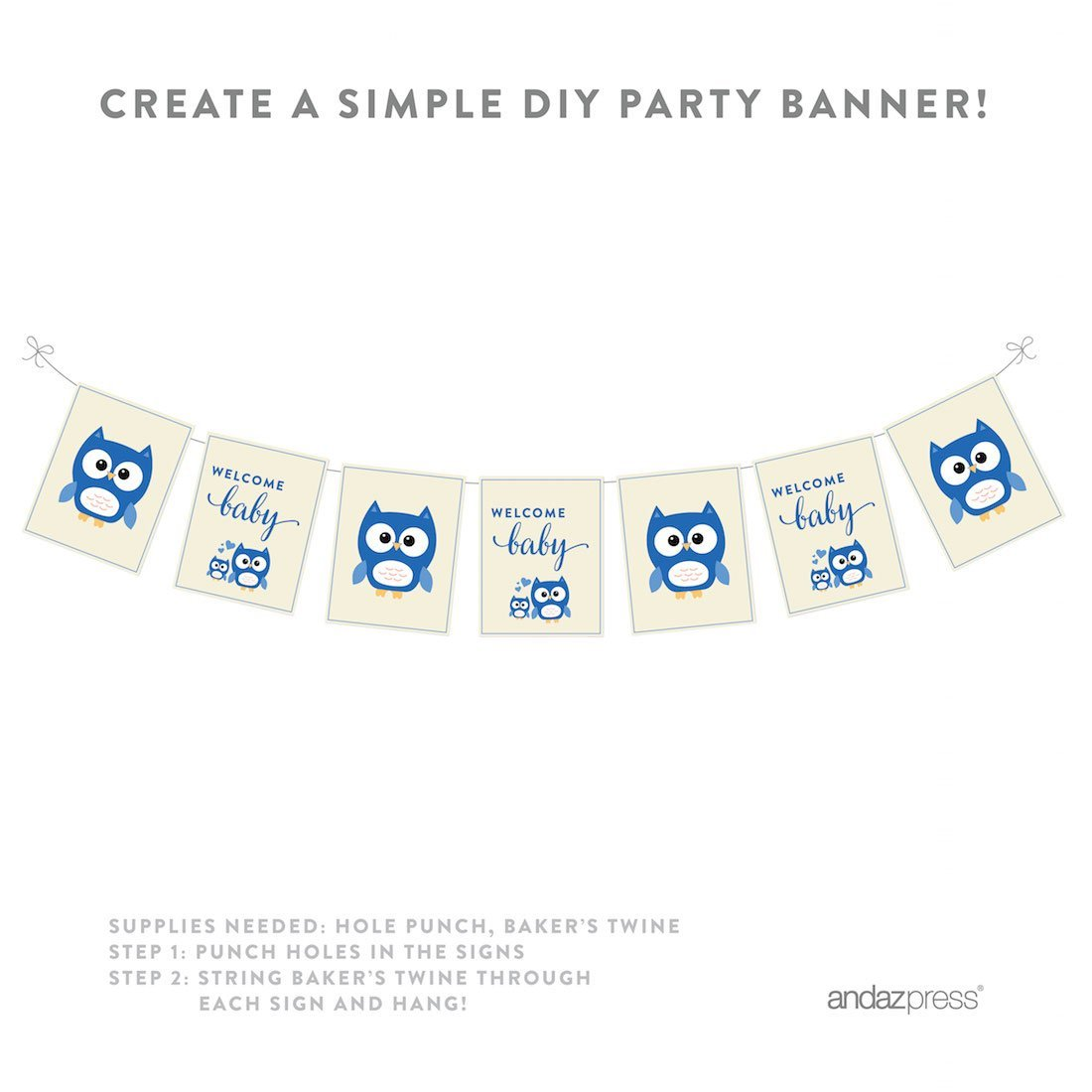 Boy Owl Baby Shower Party Signs & Banner Decorations, 20-Pack