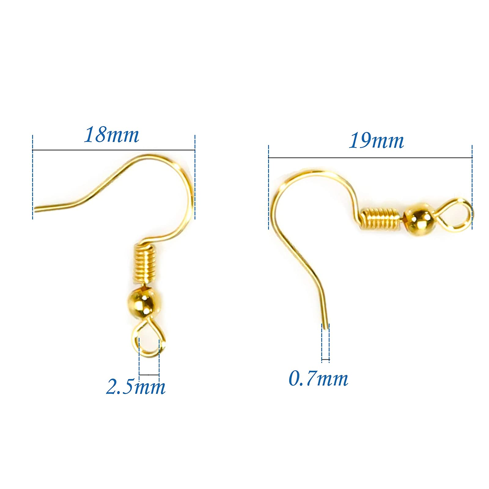 TOAOB 100pcs Earring Hooks Hypo Allergenic French Ear Wires with Ball and Coil 18mm K-Gold Tone Fish Hook Earrings Making Supplies Jewelry Findings