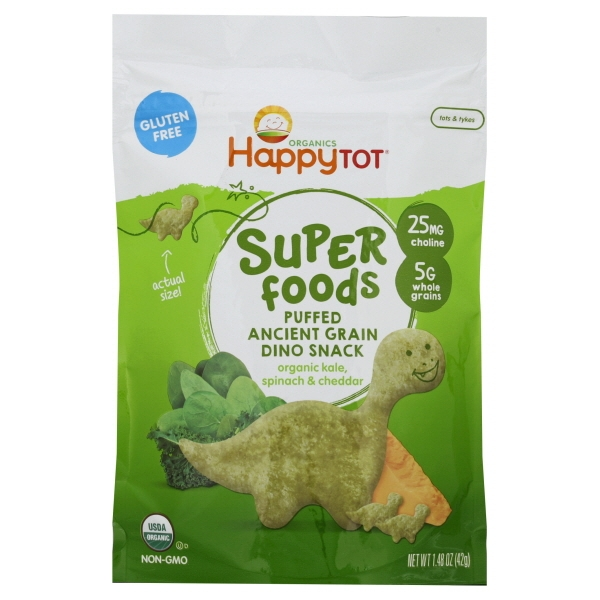 Happy Tot® Super Foods Organic Puffed Ancient Grain Organic Kale, Spinach & Cheddar Dino Snack 1.48 oz. Pouch