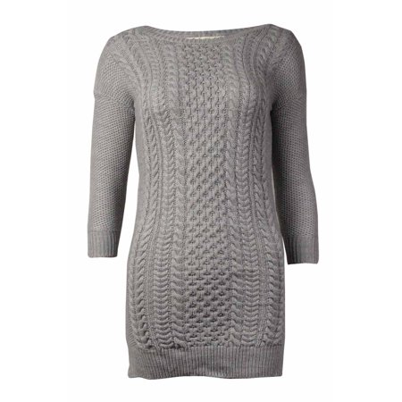Pink Republic Womens Cable Knit Sweater Dress Heather Grey S
