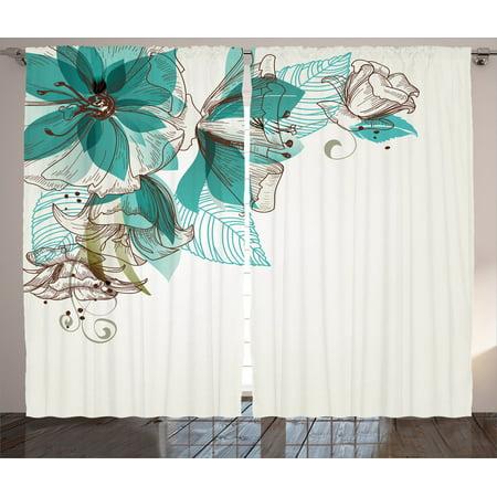 Turquoise Decor Curtains 2 Panels Set, Flowers Buds Leaf At The Top Left  Corner Retro Art Festive Season Celebrating Theme, Living Room Bedroom ...