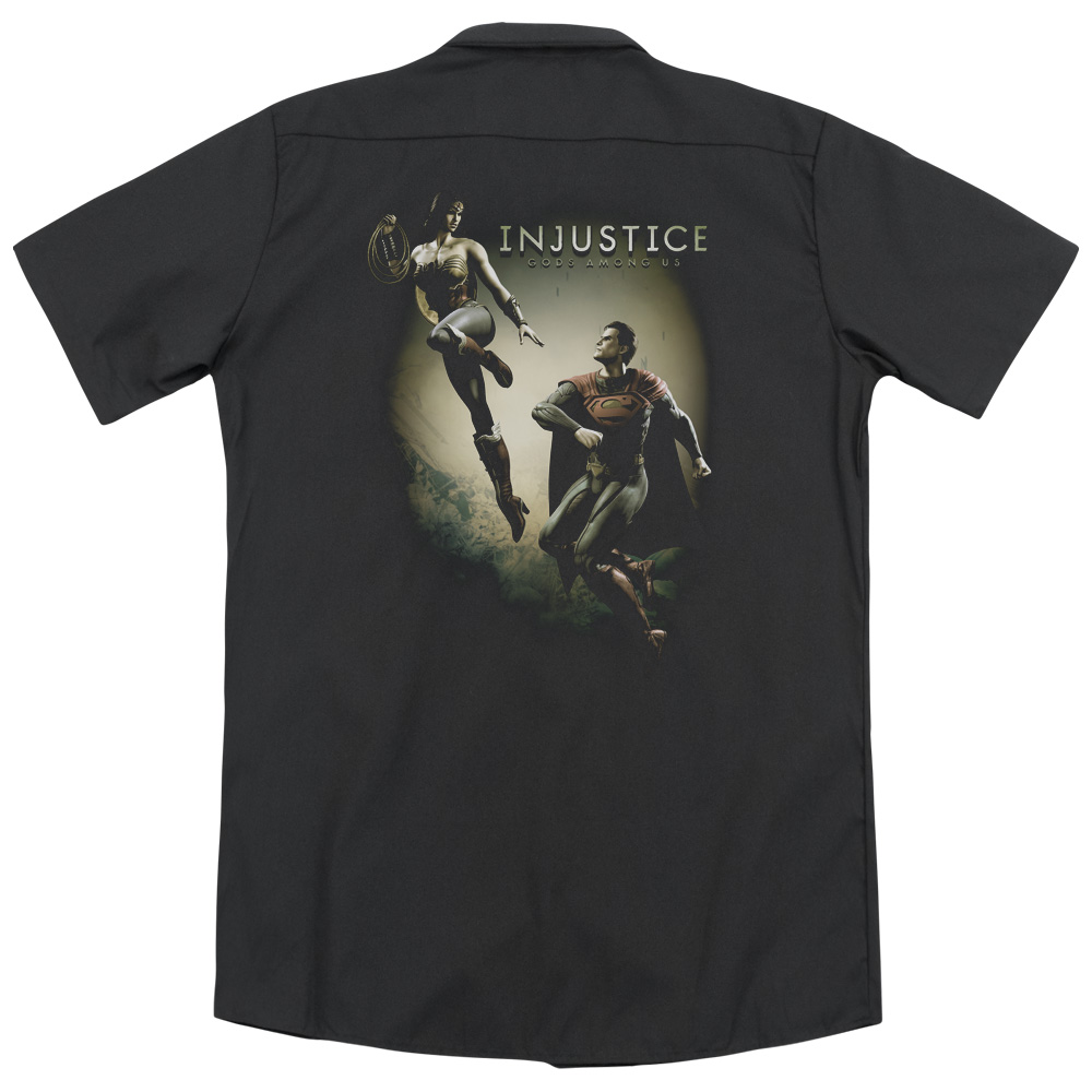 Injustice Gods Among Us Battle Of The Gods (Back Print) Mens Work Shirt