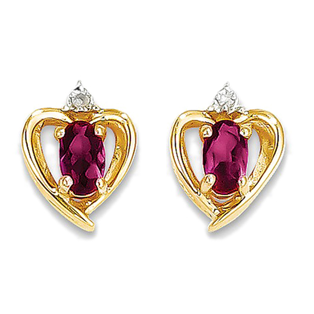 14K Yellow Gold Ruby and Diamond Heart Drop Earrings