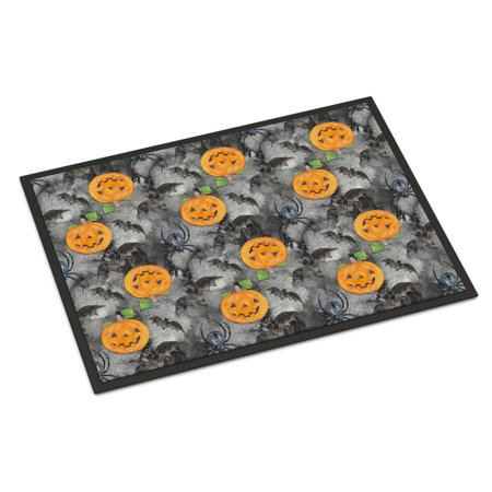 Watecolor Halloween Jack-O-Lantern Bats Door Mat - Halloween Welcome Mat