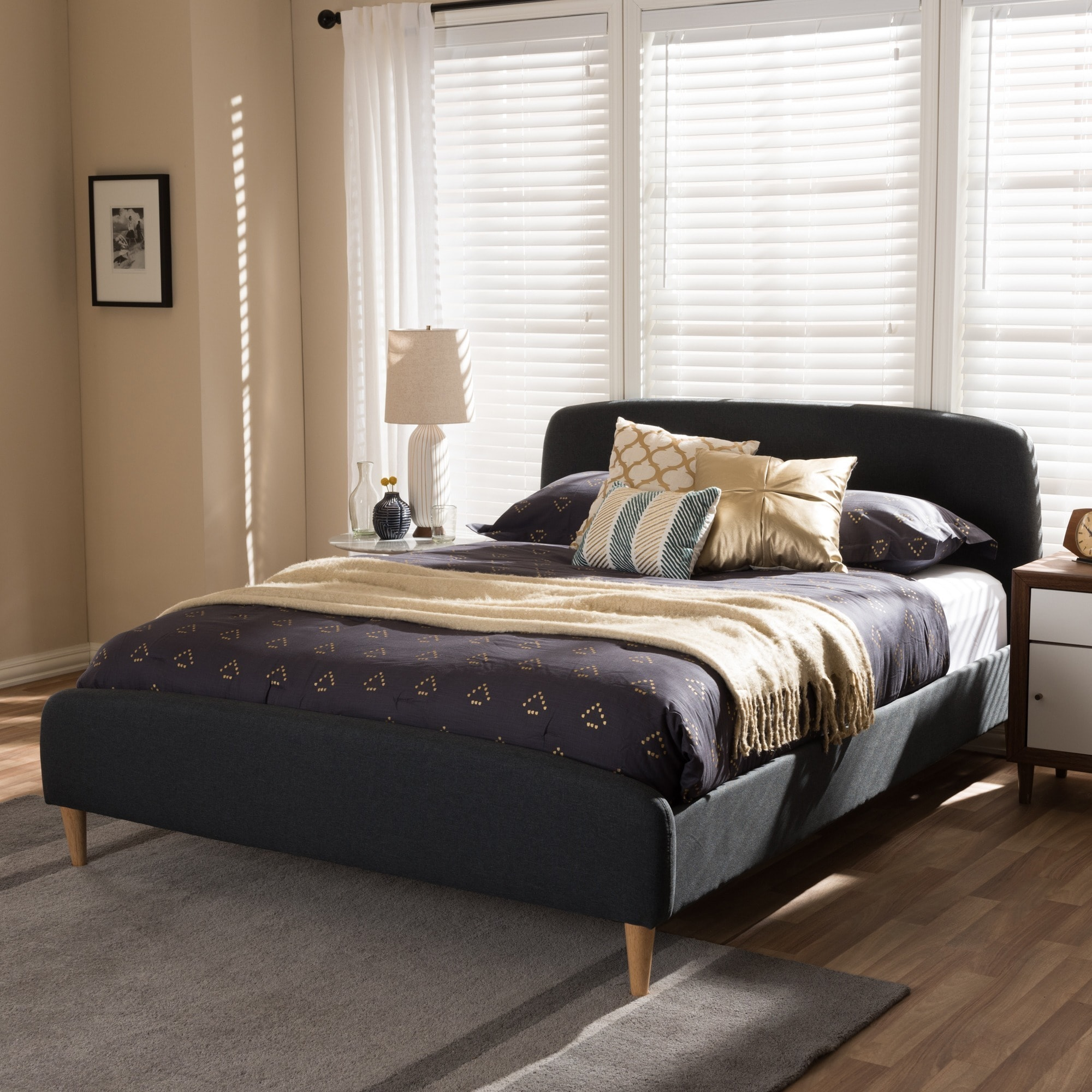 Baxton Studio Mid-Century Fabric Upholstered Platform Bed by