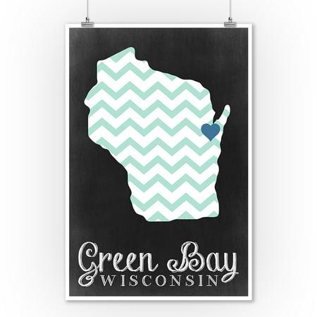 Green Bay, Wisconsin - Chalkboard - Lantern Press Poster (9x12 Art Print, Wall Decor Travel Poster)](Chalkboard Decor)