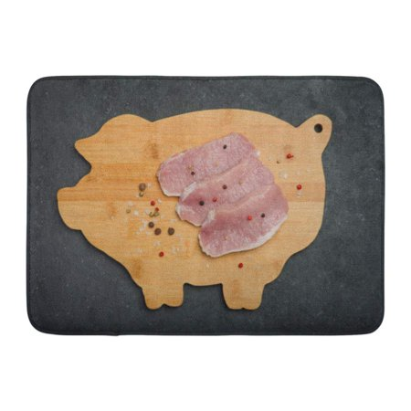 GODPOK Butcher Red Barbecue Raw Fresh Pork Meat on Wooden Board Black Top View Horizontal White Boneless Chop Rug Doormat Bath Mat 23.6x15.7