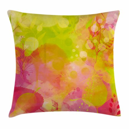 Pastel Throw Pillow Cushion Cover Nature Inspired Watercolor Paintbrush Spring Yard Psychedelic Artwork Decorative