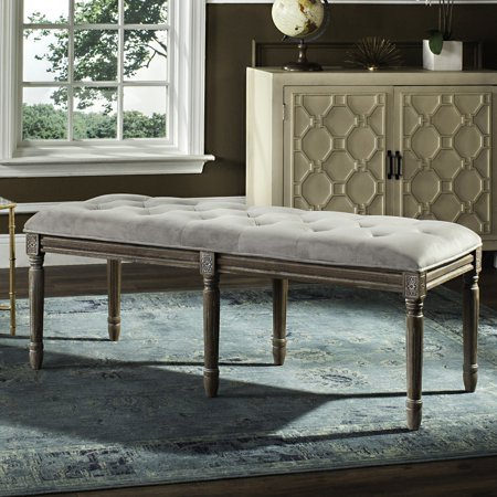 "Safavieh Rocha 19"" High French Brasserie Tufted Traditional Rustic Wood Bench, Multiple Colors"
