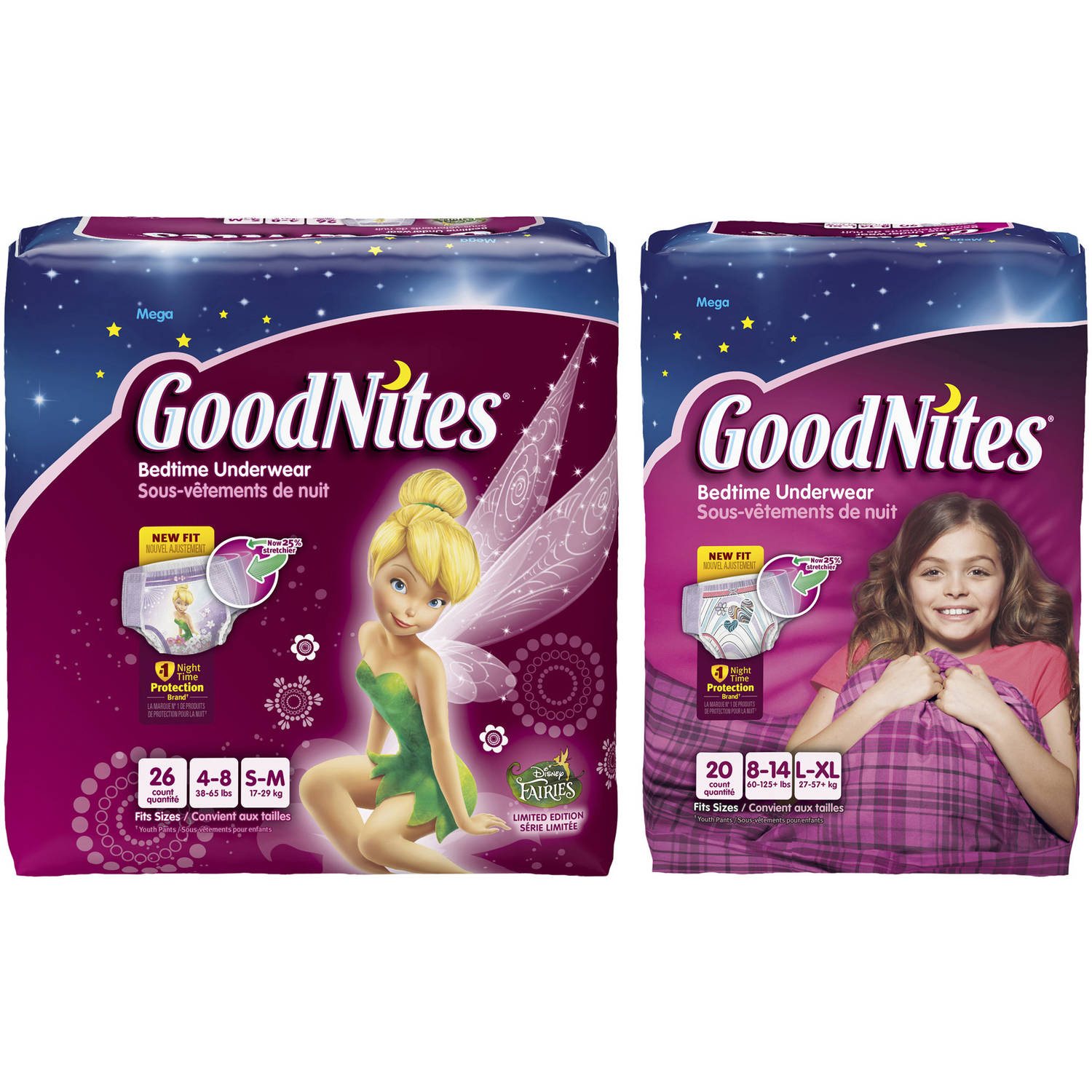 GoodNites Girls' Underwear for Night Time, Mega Pack (Choose Your Size)