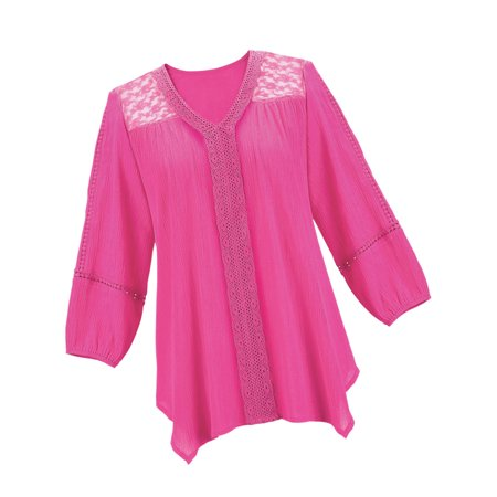Women's Flattering Lace Yoke Trim Woven Cotton 3/4 Sleeve Tunic Top with Waterfall Hemline, Xx-Large, Fuchsia