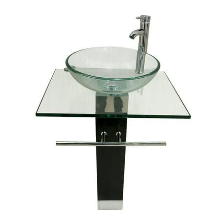 Bathroom Vanity Top Pedestal Tempered Glass Bowl Vessel Sink Combo