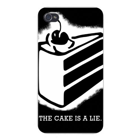 """Apple Iphone Custom Case 5 / 5s AND SE White Plastic Snap on - """"The Cake is a Lie"""" Triple Stacked Cake Black & White"""
