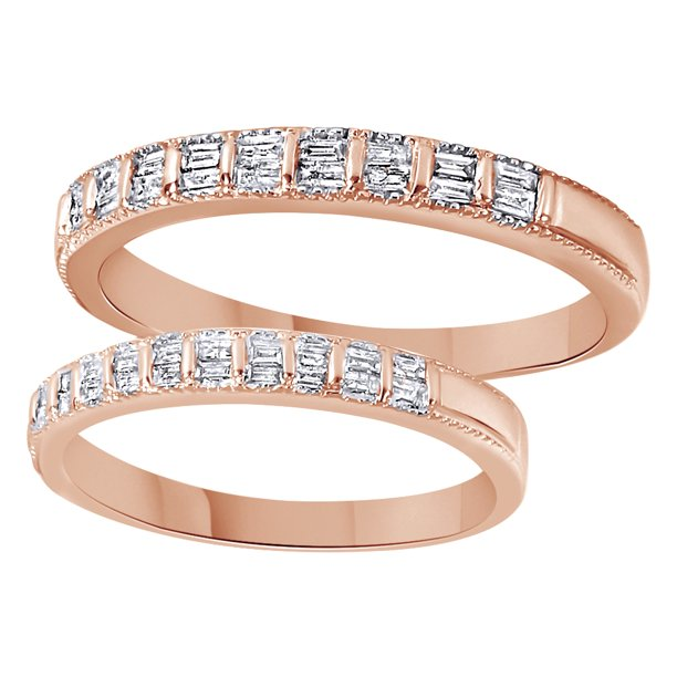 White Natural Diamond His And Hers Wedding Band Set in 14K Rose Gold (0.5 Cttw)