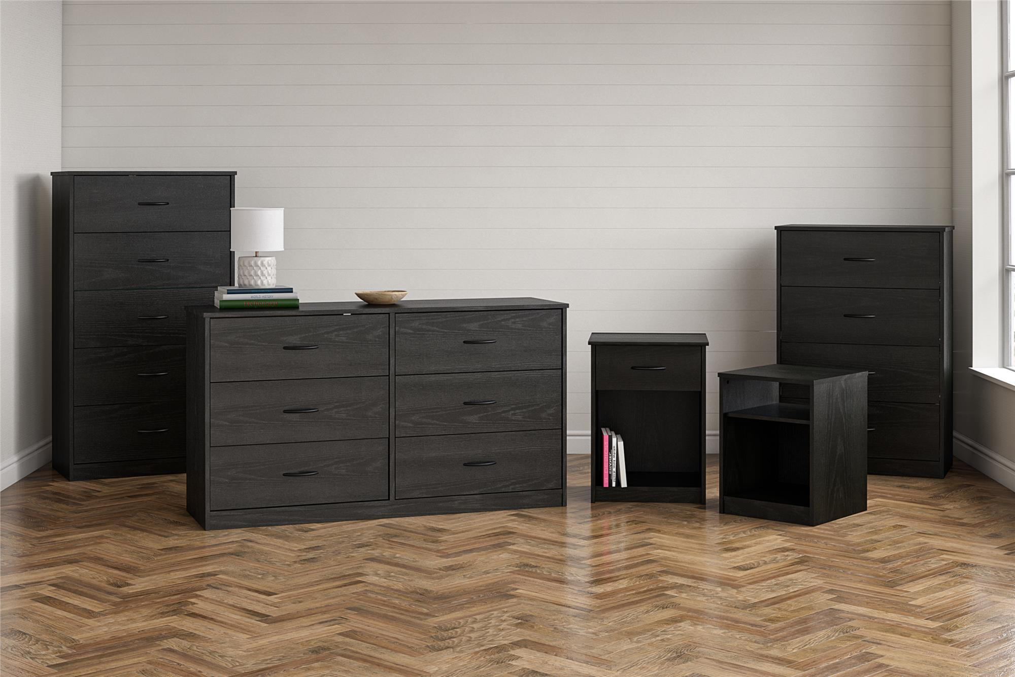 Drawer Dresser Mainstays Classic 4 Black Oak