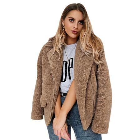 Women Faux Fur Warm Long Sleeve Casual Fashion Zipper Fleece Outwear Lapel Thick Top Parka Open Front Winter Cardigan Coat