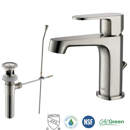 RIVUSS Brisbane Single Handle Lead-Free Brass Bathroom Faucet with Pull Out Drain