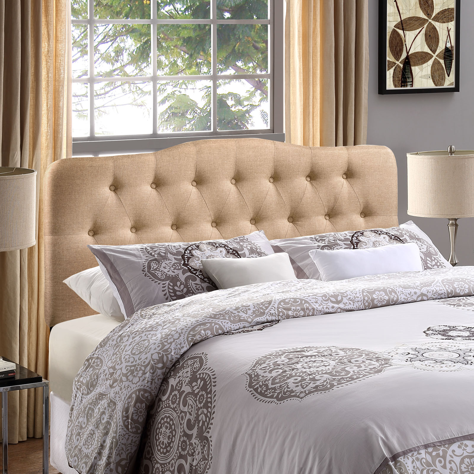 Modway Annabel Tufted Button Headboard, Multiple Sizes and Colors