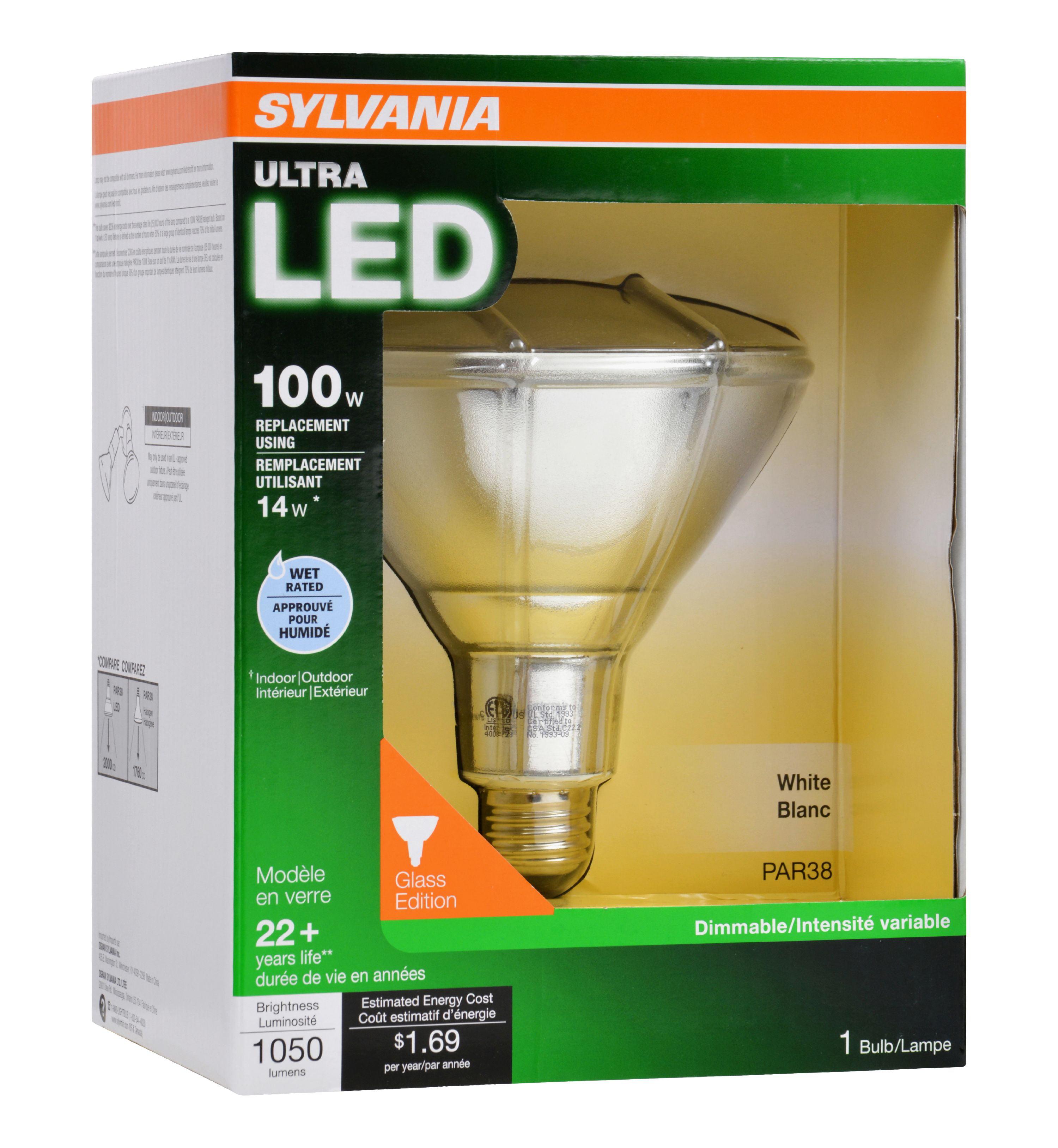 Sylvania LED Flood Light Bulb, 14W (100W Equivalent), PAR38, Bright ...