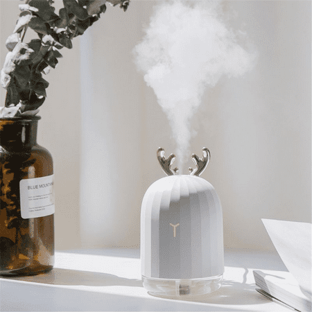 220ml Cute Antler Ultrasonic Cool Mist Humidifier, Portable USB Humidifier LED Colorful Breathing Light, Aroma Essential Oil Diffuser for Baby Bedroom Car Office Yoga (Best Cool Mist Humidifier)