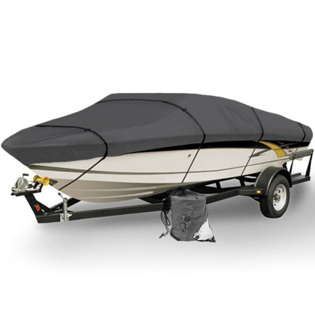 (Gray Heavy Duty Waterproof Mooring Boat Cover Fits Length 12' 13' 14' Superior Trailerable Boat Covers 600 Denier V-Hull Fishing Aluminum Ski Boat Pro Bass Inboard Outboard Boat Covers)